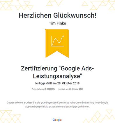 Google Skillshop Zertifikat